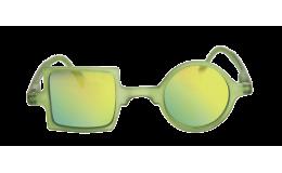 Lunettes solaires effet miroir Patchwork Vert jade