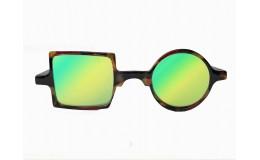 Lunettes de soleil effet miroir Patchwork - Ecaille