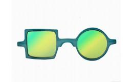 Lunettes de soleil effet miroir Patchwork - Cyan blue