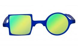 Lunettes de soleil effet miroir Patchwork - Bleu